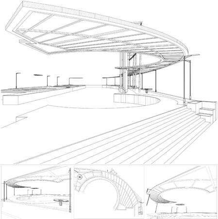 Abstract Construction Structure Of Lines Vector. Isolated Illustration On White Background. Canopy Eaves Structure.