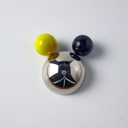 Metal Half Ball Sphere With Two Marble Balls They Look Like Mouse Face