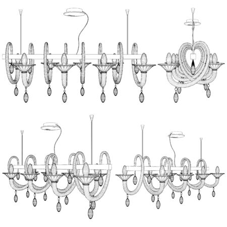 Luster Chandelier. Illustration Isolated On White Background. A Vector Illustration Of Retro Antique Classic Luster Chandelier.