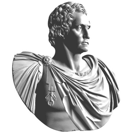 Antique Bust Classical Marble Sculpture Vector. Head Bust Isolated On White Black Background.