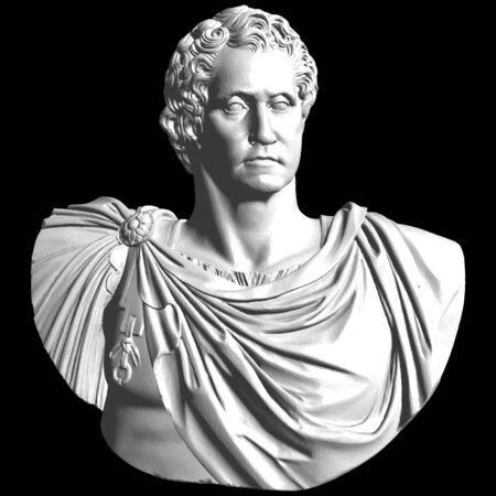 Buste Antique Sculpture En Marbre Classique Vecteur. Buste De Tête Isolé Sur Fond Noir Blanc. Vecteurs