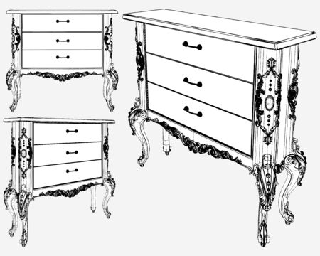 Antique Commode Vector. Illustration Isolated On White Background. A Vector Illustration Of Drawer Locker.