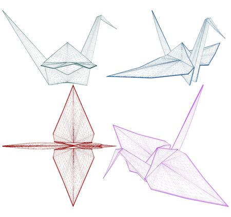 Origami Crane Vector. Illustration Isolated On White Background. A Vector Illustration Of Origami.