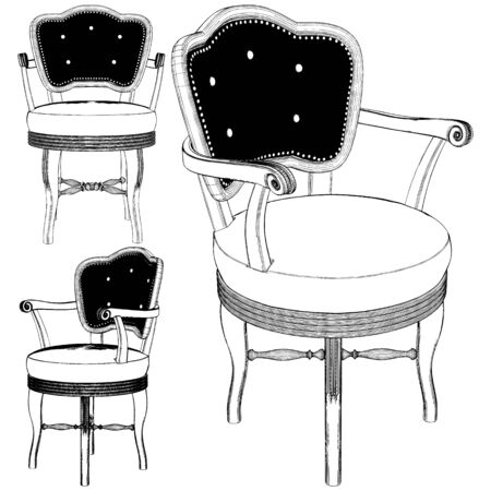 Antique Retro Chair Vector. Illustration Isolated On White Background. A Vector Illustration Of Chair. 矢量图像