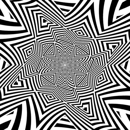 Hypnotic Black And White Stripe Shapes Vector. Illustration Isolated On White Background. A Vector Illustration Of Abstract Background.