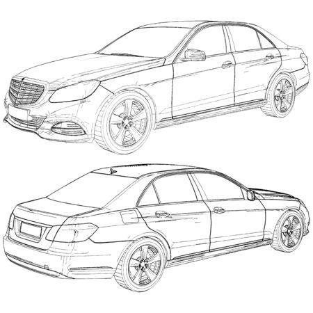 Luxury Modern Car Vector. Illustration Isolated On White Background. A Vector Illustration Of Car.