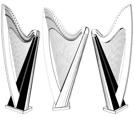 Harp Classic Musical Instrument Vector. Illustration Isolated On White Background. A Vector Illustration Of Harp Background. 矢量图像
