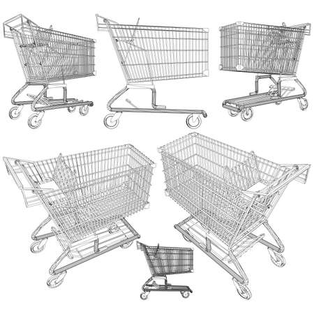 Shopping cart trolley vector isolated on white