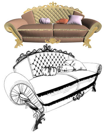 Antique Sofa vector isolated on white