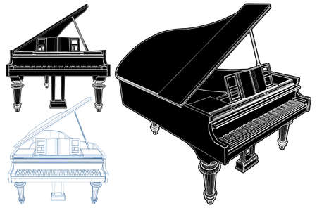 Piano Vector. Illustration Isolated On White Background. A Vector Illustration Of Classic Piano Background.