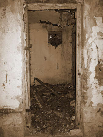Old Picture Of Destroyed Entrance to Abandoned Old Public Toilet. Vertical Stock Image.