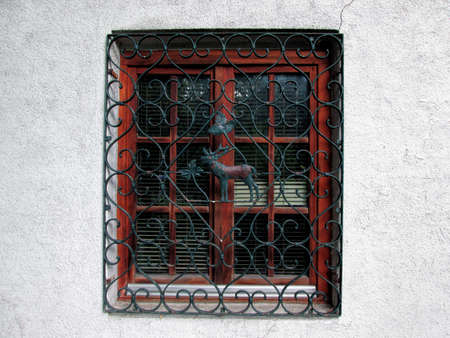 Old Window With Metal Grill On Facade. Metal Grill Grating Protection With Deer And Leaves In The Middle. Horizontal Stock Image. 免版税图像