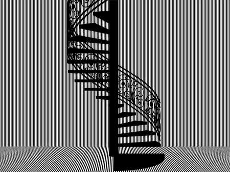 Spiral Staircase Vector. Spiral Staircase Silhouette in Black And White Stripes Room. 矢量图像
