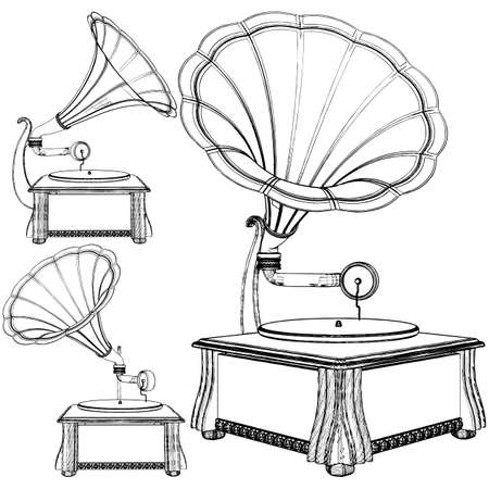 Old Antique Vintage Gramophone Vector. Illustration Isolated On White Background. A Vector Illustration Of Classic Old Gramophone Background. 矢量图像