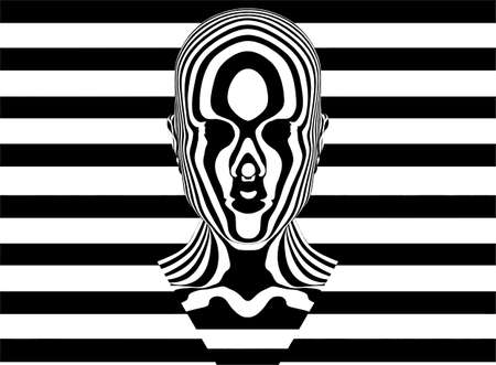 Zebra Woman Made Of Black And White Stripes Vector. The Woman's Head Looks Like It's On Her Rorschach's Mask from Watchmen.
