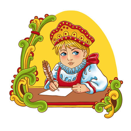 Vector colorful illustration of a cute Russian girl in traditional dress. Vector