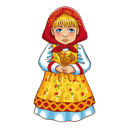 colorful dress: Vector colorful illustration of a cute Russian girl in traditional dress.