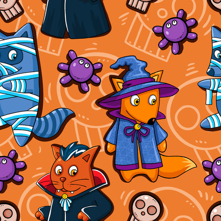 Vector pattern with cartoon Halloween monster themed animal character. Vector