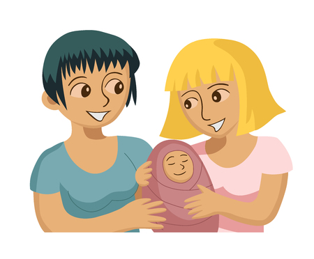 bisexuality: Vector illustration of smiling gay female couple with baby.