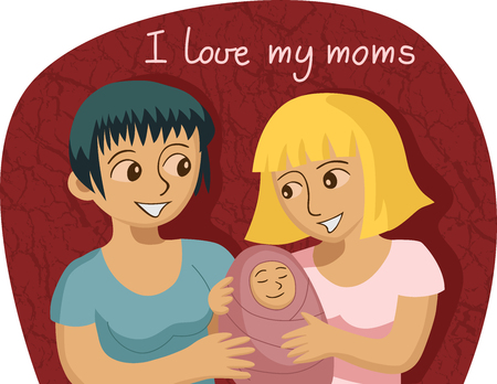 Vector illustration of smiling gay female couple with baby. Vector