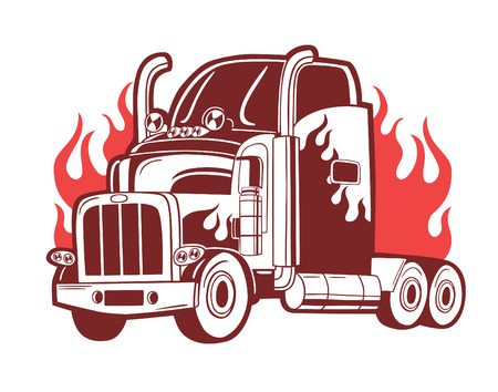 truck on highway: BVector logo with truck. Illustration