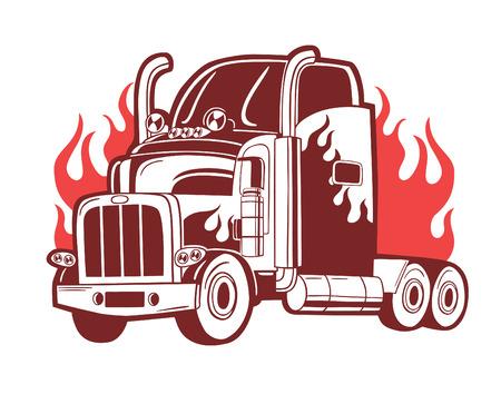 heavy equipment: BVector logo with truck. Illustration