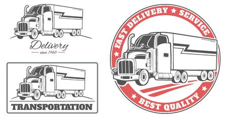 motor de carro: Conjunto de vectores de las etiquetas y logos para camión de reparto.