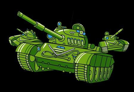 wartime: Vector cartoon tank illustration isolated on black. Illustration