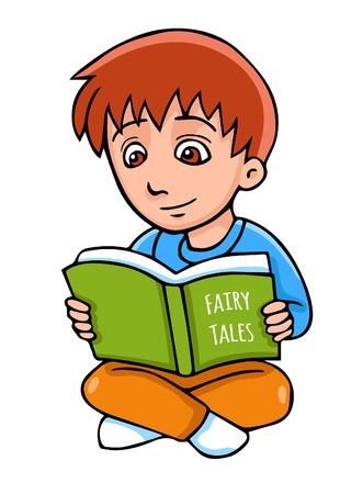 Vector cartoon jongen met boek. Stockfoto - 40980910