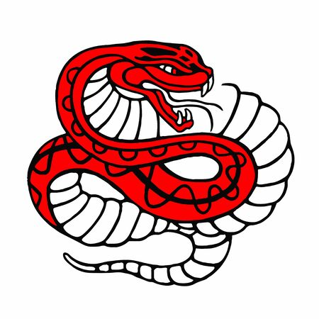 deadly danger sign: Snake vector character illustration isolated on white.