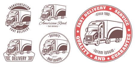heavy set: Set of vector logos. Heavy truck.