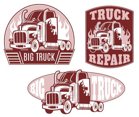 Set van vector. Vrachtwagen reparatie.