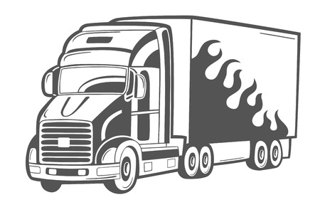truck on highway: Vector emblem with heavy truck isolated on white. Illustration