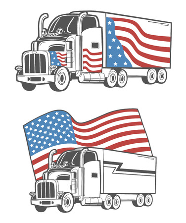 autotruck: Vector emblem with heavy truck isolated on white. Illustration