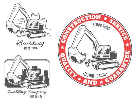 Set van vector logo's. Graafmachine. Stock Illustratie