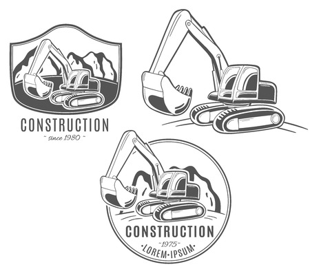 Set of vector logos. Excavator.