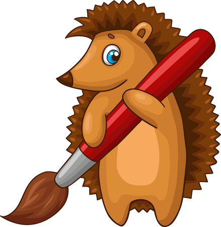 cartoon hedgehog: Cartoon hedgehog character with big brush. Vector illustration.