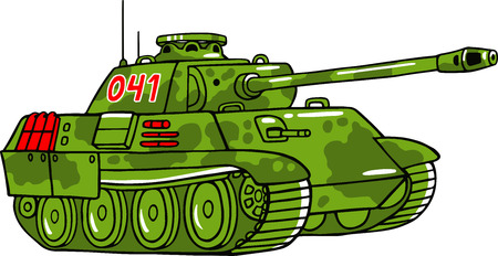 wartime: Vector cartoon tank illustration isolated on white.