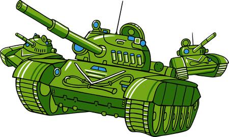 wartime: Vector cartoon tank illustration isolated on white.