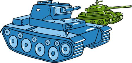 armoured: Vector cartoon tank illustration isolated on white.