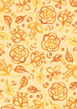 Aquarel stijl bloemen vector naadloos patroon.