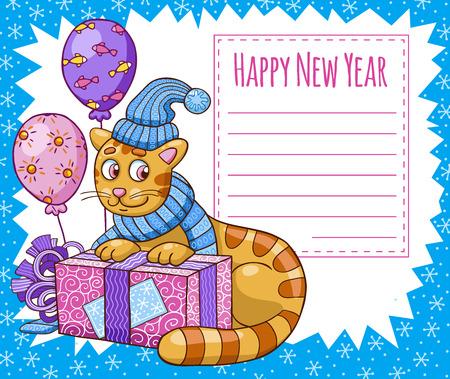 Ilustración del vector del carácter de dibujos animados del gato en el sombrero de la Navidad. Tarjeta del Año Nuevo. Foto de archivo - 40984439