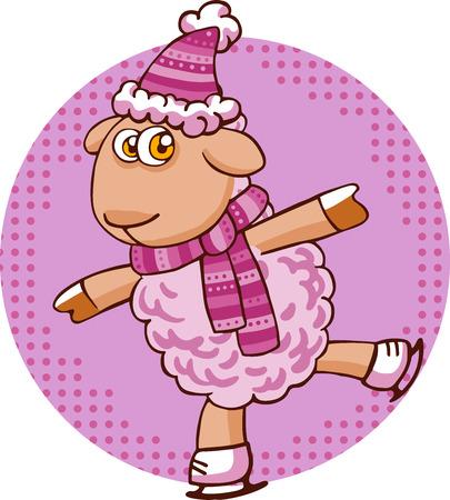 Vector illustratie van cartoon schapen karakter in kerstmuts op wit wordt geïsoleerd.