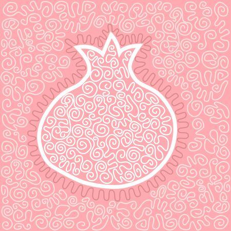 Vector illustratie met grafische granaatappel. Stock Illustratie