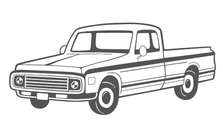 moving truck: Pickup truck. Vector illustration.