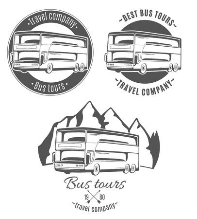 Conjunto de logotipos del vector con el autobús turístico. Foto de archivo - 41929475