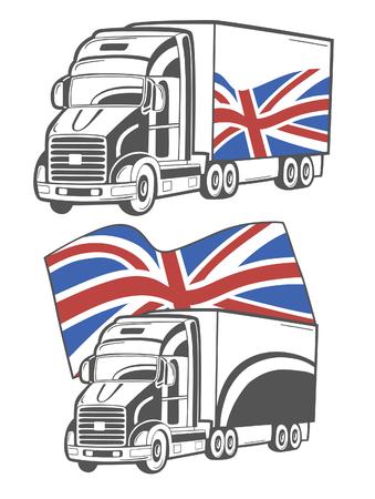 Vector illustratie van de zware vrachtwagen met Union Jack.