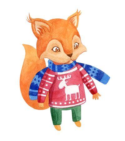 Ilustración de vector de estilo acuarela de personaje de dibujos animados. Ardilla. Foto de archivo - 41929509