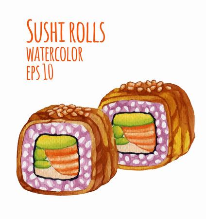 Aquarel stijl vector illustratie van de sushi.