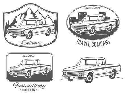 Conjunto de logotipos de vector con camioneta. Foto de archivo - 83446223